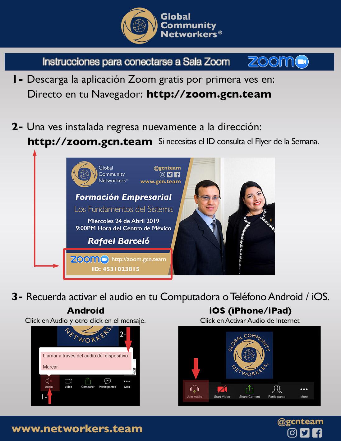 Instrucciones para entrar a Sala Zoom